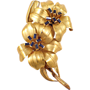 French Tiffany & Co. 18K Yellow Gold Sapphire Flower Brooch