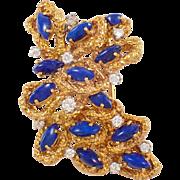 18K Yellow Gold Lapis and Diamond Brooch