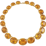 Early Victorian 14K Yellow Gold Citrine Necklace