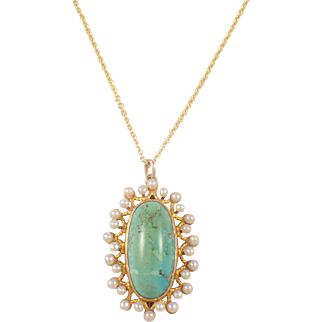 Victorian 14k Yellow Gold Turquoise and Pearl Pendant