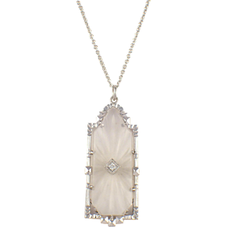 Art Deco 14k White Gold Crystal and Diamond Pendant
