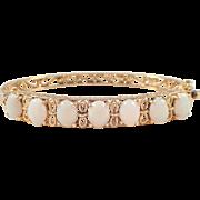 14k Yellow Gold Opal Bangle Bracelet