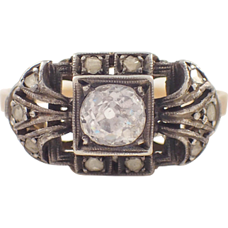Edwardian Silver over Gold Diamond Ring
