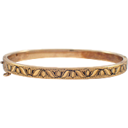 Victorian 14K Yellow Gold Enamel Bangle Bracelet