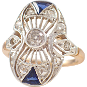 Edwardian Platinum and 14k Yellow Gold Sapphire and Diamond Ring