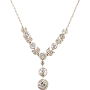 Edwardian Platinum over Gold Diamond Necklace