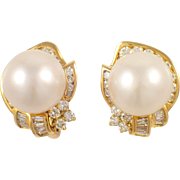 18k Yellow Gold South Sea Pearl and Diamond Earrings