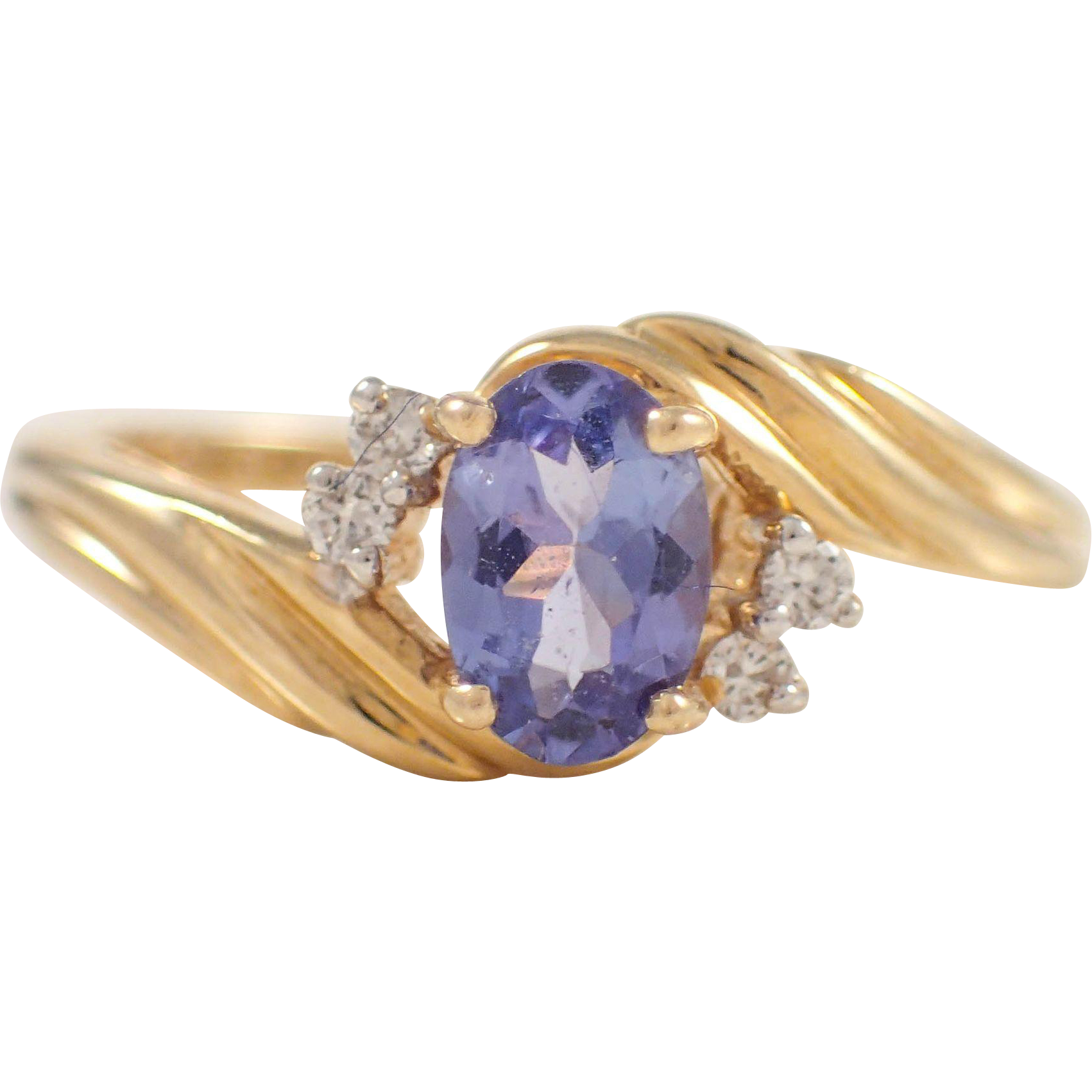 14k yellow gold tanzanite and ring from