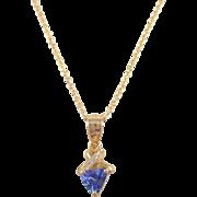 14k Yellow Gold Tanzanite and Diamond Necklace