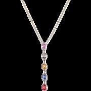 14k White Gold Multi Colored Sapphire and Diamond Pendant