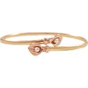 14k Yellow and Rose Gold Pearl Bracelet