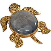 Yves 18k Yellow Gold Star Sapphire, Yellow and, Blue Sapphire Turtle Brooch/Pendant