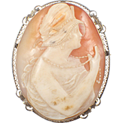 Art Deco 14k White Gold Shell Cameo Brooch