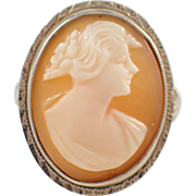 1920s 14k White Gold Shell Cameo Ring