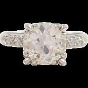 Retro Platinum Diamond Engagement Ring