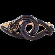 Victorian 14K Yellow Gold Enamel Snake Bangle Bracelet