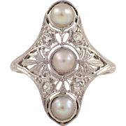 Art Deco Platinum Pearl and Diamond Ring