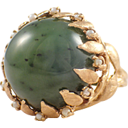 14K Yellow Gold Nephrite and Seed Pearl Ring