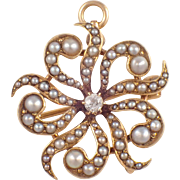 Antique 14k Yellow Gold Seed Pearl and Diamond Pin/Pendant