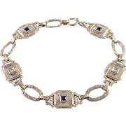 Art Deco Platinum and 14K Yellow Gold Crystal, Sapphire, and Diamond Bracelet