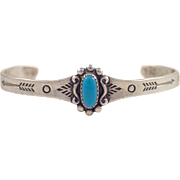 Childs Sterling Silver Turquoise Bracelet