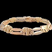 14k Rose, White, and Green Elephant Bracelet