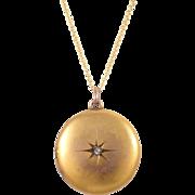 Antique 10k Yellow Gold Diamond Locket