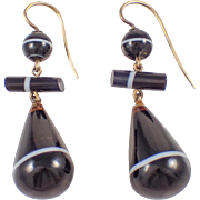 Victorian 14k Yellow Gold Agate Earrings