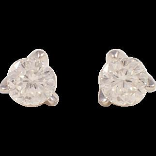 Roberto Coin 18k White Gold Diamond Stud Earrings