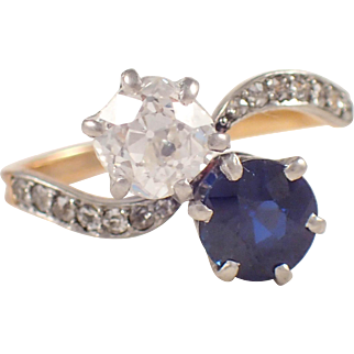 Edwardian Platinum over Gold Sapphire and Diamond Ring