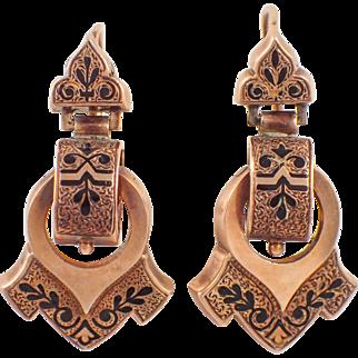 Victorian 14k Yellow Gold Enamel Earrings