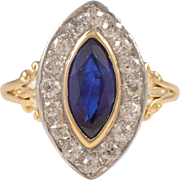 Edwardian Platinum and Gold Sapphire and Diamond Ring