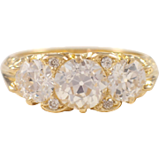 Victorian Style 18k Yellow Gold Diamond Ring