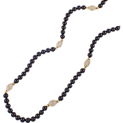 14k Yellow Gold Onyx, and Crystal Bead Necklace