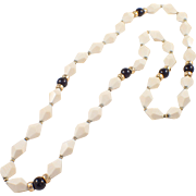 14k Yellow Gold Bone and Onyx Bead Necklace