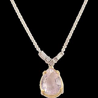 14K White and Yellow Gold Kunzite and Diamond Pendant