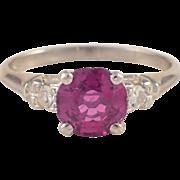 Platinum Spinel and Diamond Ring