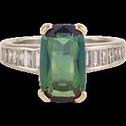 Platinum and Gold Tourmaline and Diamond Ring