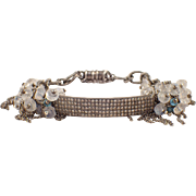 Sterling Silver  Diamond and Moonstone Bracelet