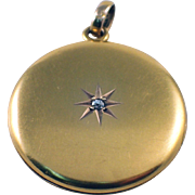 Victorian 14k Yellow Gold Diamond Locket