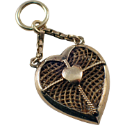 14k Yellow Gold Heart Mourning Pendant