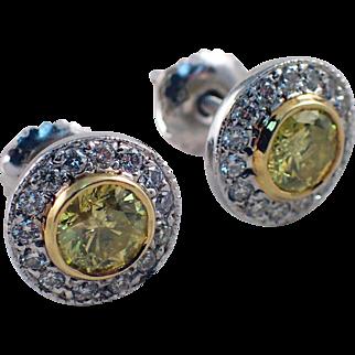 14K White and Yellow Gold Diamond Earrings