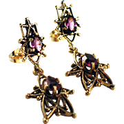 Mid Century 14k Yellow Gold Amethyst Earrings