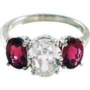 14k White Gold Diamond and Tourmaline Engagement Ring