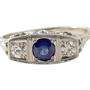 Art Deco 14k White Gold Diamond and Sapphire Ring