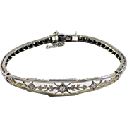 Mid Century 14k White Gold Diamond Bracelet
