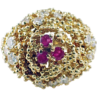 18K Yellow Gold Ruby and Diamond Dome Ring