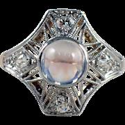 Edwardian Platinum over Gold Moonstone and Diamond Ring