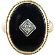 Art Deco 14k Yellow Gold Onyx and Diamond Ring