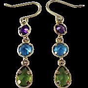 14K Yellow Gold Multistone Earrings